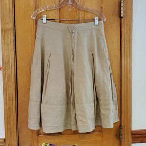 Banana Republic Beige/Tan Linen Full Skirt Size 4